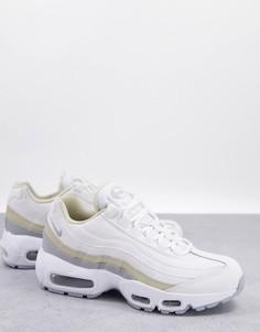 Белые кроссовки со светло-бежевой отделкой Nike Air Max 95-Белый