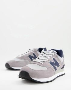 Кроссовки серого и темно-синего цвета New Balance 574-Серый