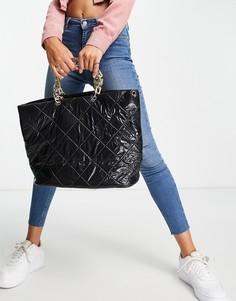 Стеганая лакированная сумка-тоут черного цвета с ручкой в виде массивной цепочки Ego-Черный цвет
