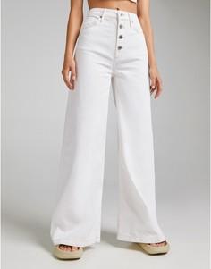 Широкие джинсы цвета экрю на пуговицах Bershka-Белый