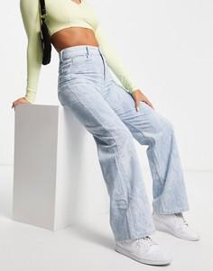 Голубые джинсы с мраморным принтом в стиле 90-х Bershka-Голубой