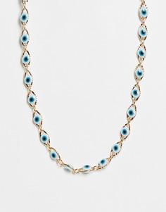 Золотистое короткое ожерелье с дизайном в виде глаз ASOS DESIGN-Многоцветный