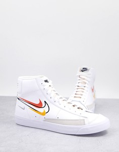 Бело-оранжевые кроссовки средней высоты Nike Blazer 77 Summer of Sport-Белый