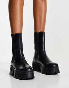 Кожаные ботинки челси черного цвета на массивной подошве ASOS DESIGN Adjust-Черный цвет