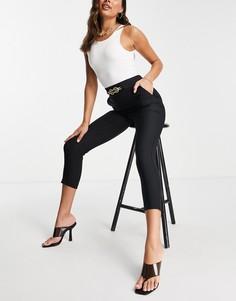 Черные брюки-сигареты с цепочкой и карманами от комплекта River Island-Черный цвет