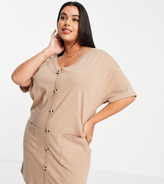 Бежевое платье-футболка на пуговицах ASOS DESIGN Curve-Коричневый цвет
