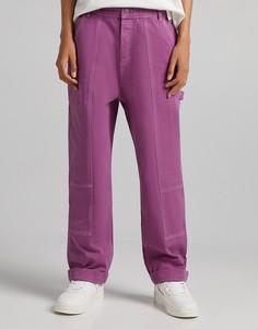 Розовые джинсы широкого кроя от комплекта Bershka-Розовый цвет