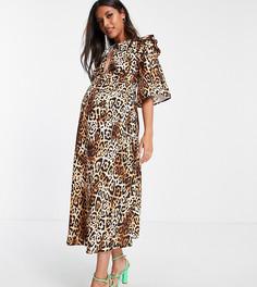 Эксклюзивное платье миди с оборками, завязкой на шее и леопардовым принтом Queen Bee-Разноцветный