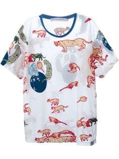 Walter Van Beirendonck прозрачная футболка с вышитыми животными
