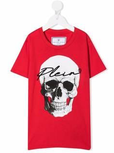 Philipp Plein Junior футболка с вышитым логотипом и принтом Skull