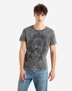 Серая футболка с черепом Gloria Jeans