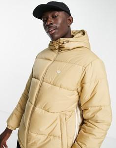 Бежевый пуховик с 3 полосками и капюшоном adidas Originals-Светло-бежевый цвет