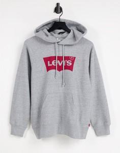Спортивный укороченный худи дымчатого цвета Levis-Серый