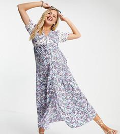 Платье макси со смешанным цветочным принтом Violet Romance Maternity-Многоцветный
