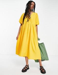 Желтое фактурное платье миди Selected Femme-Желтый