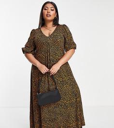 Свободное платье миди с леопардовым принтом и V-образным вырезом ASOS DESIGN Curve-Коричневый цвет