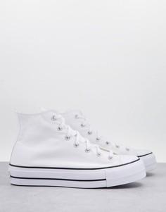 Белые высокие кроссовки на слоеной подошве Converse Chuck Taylor All Star Hi Lift-Белый
