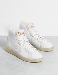 Высокие кожаные кроссовки белого цвета в утилитарном стиле Converse Pro Leather Hi Future Utility-Черный цвет