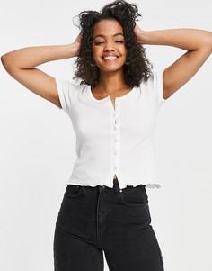 Белая футболка на пуговицах Brave Soul Zelly-Белый