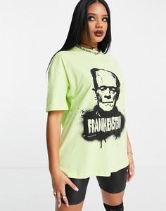 """Ярко-желтая футболка в стиле oversized с принтом """"Frankenstein"""" ASOS DESIGN Halloween-Желтый"""