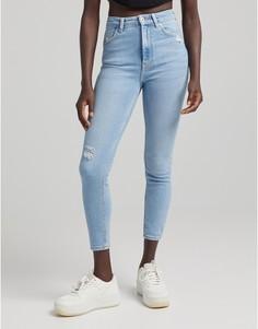 Винтажно-синие зауженные джинсы с очень высокой талией Bershka-Голубой
