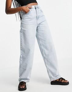 Светло-голубые выбеленные джинсы свободного кроя из переработанного смесового хлопка Topshop-Голубой