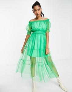 Ярко-зеленое ярусное платье миди с сетчатыми вставками и открытыми плечами River Island-Зеленый цвет
