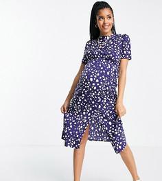 Синее чайное платье в горошек с высоким воротом и пуговицами ASOS DESIGN Maternity-Разноцветный
