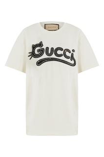 Белая футболка с логотипом Gucci