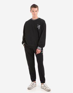 Чёрные брюки comfort с принтом Gloria Jeans