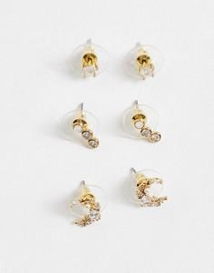 Золотистые серьги с кристаллами ALDO Asigowiel-Золотистый