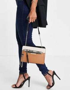 Светло-коричневая сумка через плечо со змеиной отделкой ALDO Margarethe-Коричневый цвет