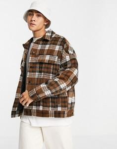 Oversized-куртка в стиле вестерн из ткани с добавлением шерсти в коричневую клетку ASOS DESIGN-Коричневый цвет
