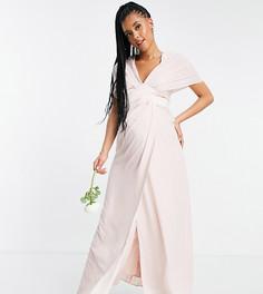 Розовое платье макси для подружки невесты с объемными рукавами, атласной лентой на талии и пуговицами на спинке ASOS DESIGN Maternity-Розовый цвет