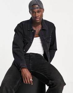 Черная классическая джинсовая куртка из смесового органического материала в стиле вестерн Topman-Голубой