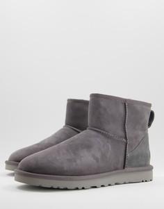 Классические серые ботинки мини из овечьей шкуры Ugg-Серый