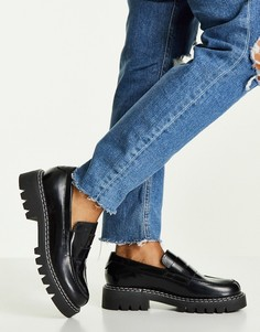 Черные кожаные лоферы Selected Femme-Черный цвет