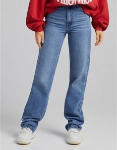 Голубые джинсы с завышенной талией в винтажном стиле Bershka-Голубой