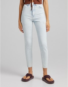 Выбеленные зауженные джинсы с очень высокой талией Bershka-Голубой