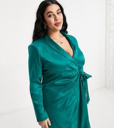 Платье-блейзер изумрудного цвета с отделкой бахромой Saint Genies Plus-Зеленый цвет