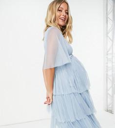 Бледно-голубое платье миди с расклешенными рукавами Anaya With Love Maternity-Розовый цвет
