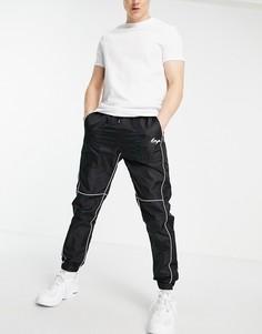 Черные нейлоновые джоггеры с белой окантовкой Liquor N Poker-Черный цвет