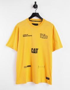 Желтая футболка с принтом механизмов Caterpillar-Желтый