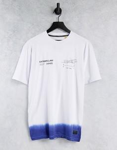 Футболка белого и синего цвета с эффектом деграде и принтом логотипа Caterpillar-Белый