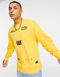 Желтый свитшот с принтом механизма Caterpillar