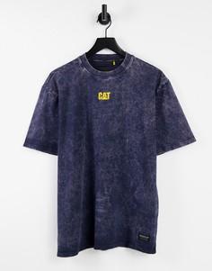 Синяя футболка из выбеленного денима с принтом логотипа Caterpillar-Голубой