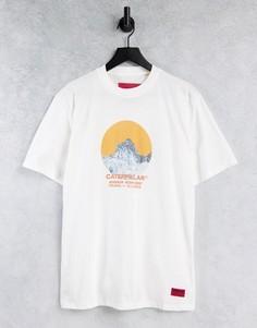 Кремовая футболка с принтом гор в круге Caterpillar-Белый