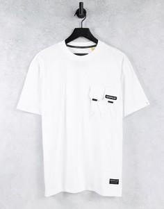 Белая футболка с двойным карманом и логотипом Caterpillar-Белый