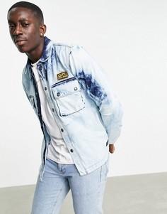 Синяя джинсовая рубашка с эффектом кислотной стирки и молнией спереди Caterpillar-Голубой