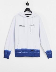 Бело-синее худи с принтом двигателя и эффектом деграде Caterpillar-Белый